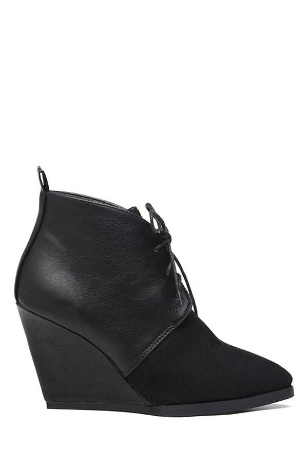 Laconic Wedge Heel and Splice Design Women's Short Boots - BLACK 35