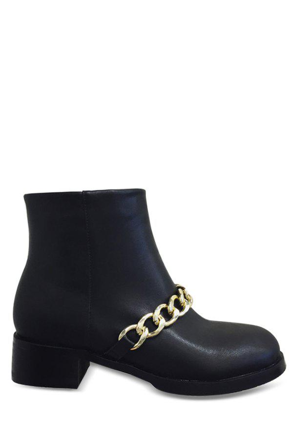 Laconic Chains and Black Design Women's Short Boots - BLACK 39