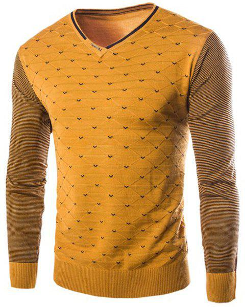 Personality V-Neck Stripes Argyle Intarsia Hit Color Slimming Long Sleeves Men's Cashmere Blend Sweater - YELLOW M