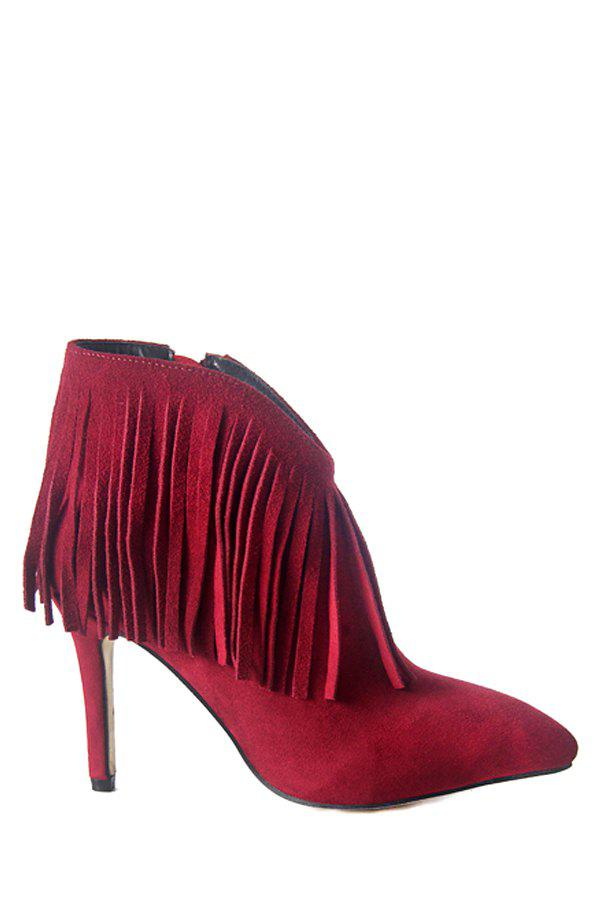 Elegant Fringe and Suede Design Women's High Heel Boots - WINE RED 37