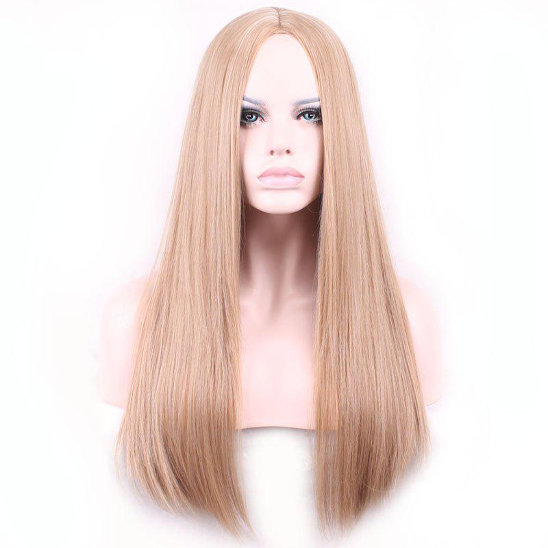 Fashionable Light Brown Centre Parting Long Synthetic Silky Straight Capless Wig For Women - LIGHT BROWN