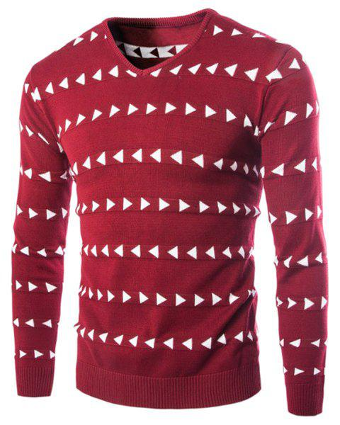 Vogue Color Block Triangle Stripes Jacquard Slimming V-Neck Long Sleeves Men's Cashmere Blend Sweater - RED M