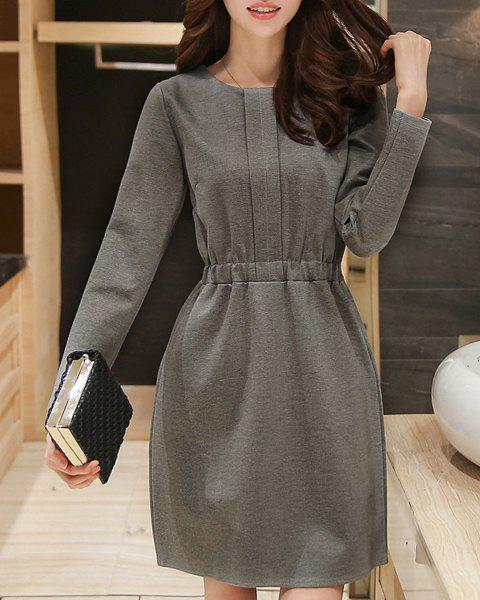 Trendy Solid Color Elastic Waist Long Sleeve Mini Dress For Women