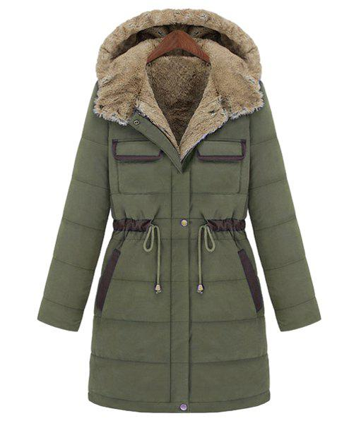 Casual Drawstring Design Hooded Thicken Long Sleeve Coat For Women - ARMY GREEN M