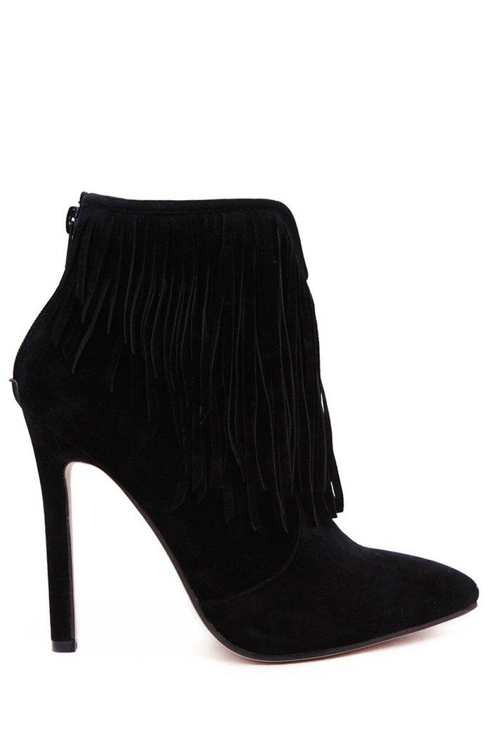 Trendy Fringe and Pointed Toe Design Women's Short Boots - BLACK 36