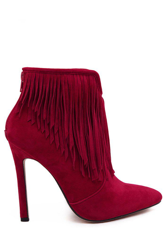 Trendy Fringe and Pointed Toe Design Women's Short Boots - RED 36