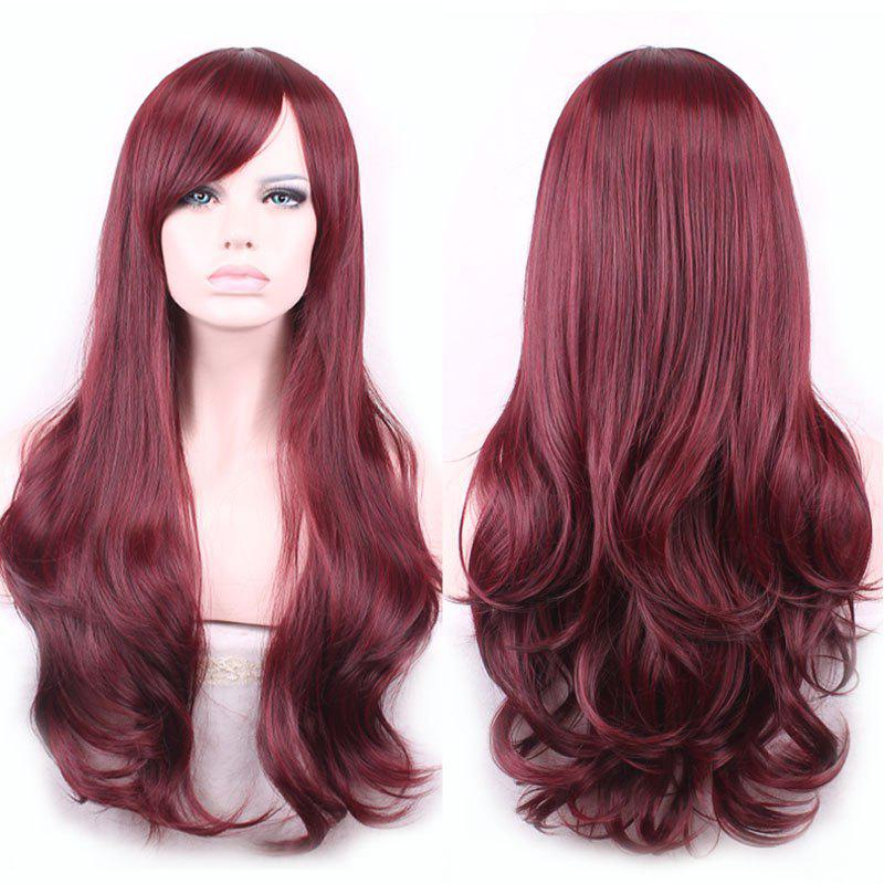 Glam Side Bang Long Capless Vogue Towheaded Wavy Claret Heat Resistant Fiber Wig For Women - WINE RED