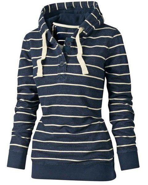 Stylish Hooded Long Sleeve Drawstring Striped Women's Hoodie