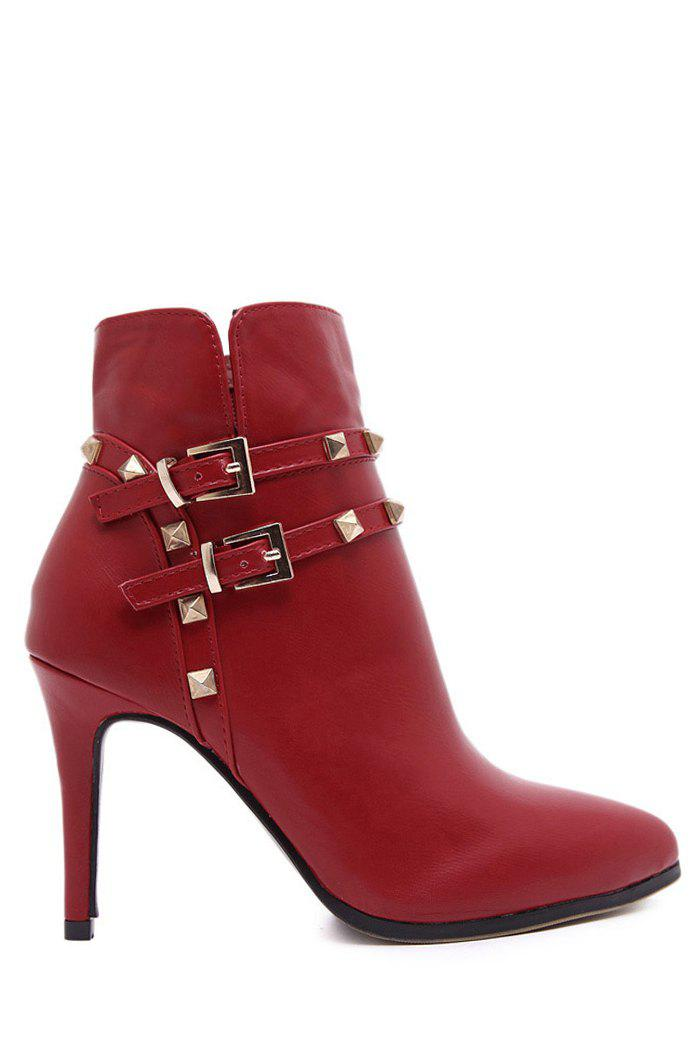 Sexy Rivet and Pointed Toe Design Women's Short Boots - RED 39