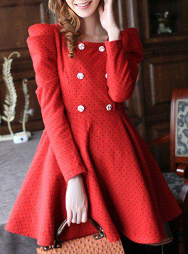 Fashionable Scoop Neck Polka Dot Long Sleeve A-Line Worsted Dress For Women - RED L