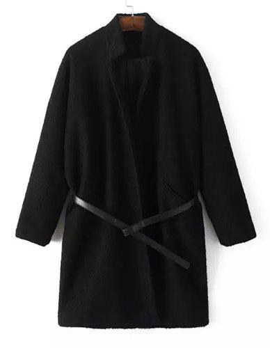 Elegant Pure Color Stand Collar Long Sleeve Worsted Coat For Women - BLACK S