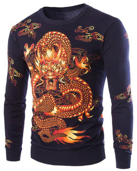 3D Dragon Pattern Printing Rhinestone Embellished Slimming Round Neck Long Sleeves Men's Sweater - CADETBLUE M