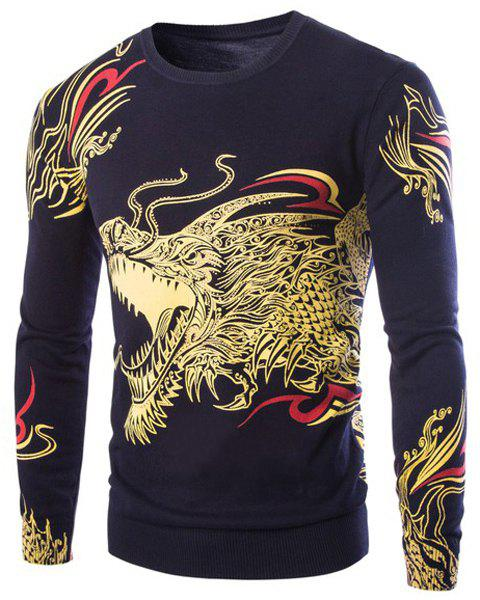 Cool 3D Dragon Pattern Printing Rhinestone Embellished Round Neck Long Sleeves Men's Slim Fit Sweater - CADETBLUE M