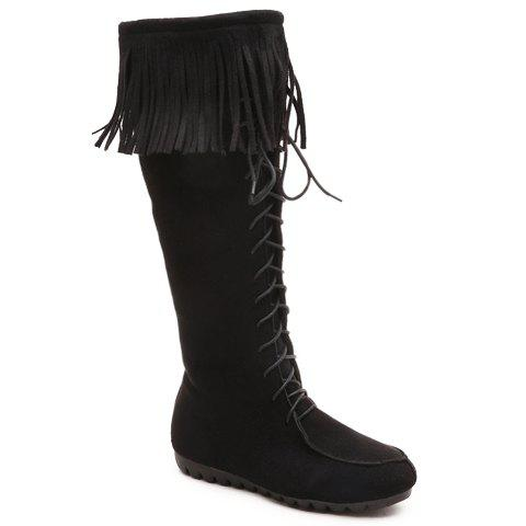 Elegant Fringe and Zipper Design Women's Mid-Calf Boots