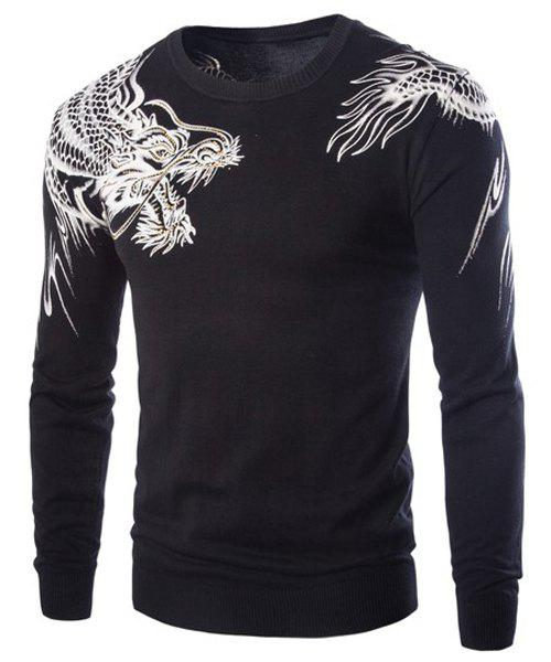 Rhinestone Embellished Dragon Pattern Jacquard Hit Color Round Neck Long Sleeves Men's Slim Fit Sweater - BLACK 2XL