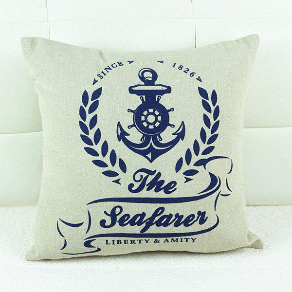 Simple Letter Pattern Cotton and Linen Decorative Pillowcase (Without Pillow Inner)