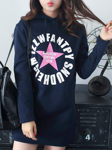 Stylish Long Sleeve Hooded Star Print Women's Hoodie - CADETBLUE L