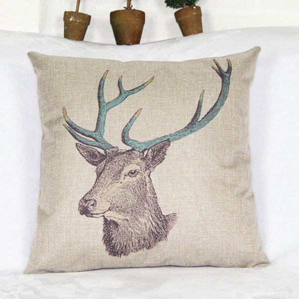 Country Deer Head Pattern Cotton and Linen Pillowcase - COLORMIX