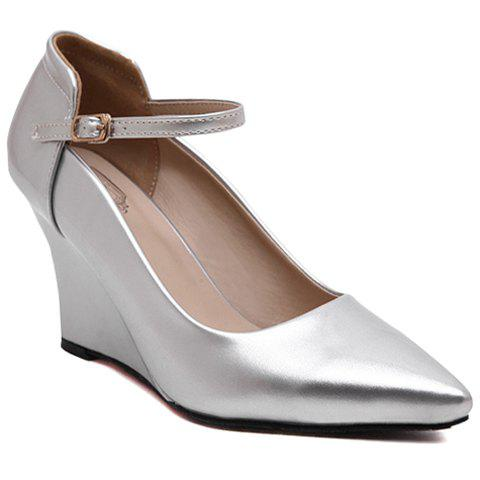 Trendy Pointed Toe and Solid Color Design Wedge Shoes For Women - SILVER 38