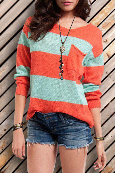 Attractive Scoop Neck Striped Pullover Knitwear For Women