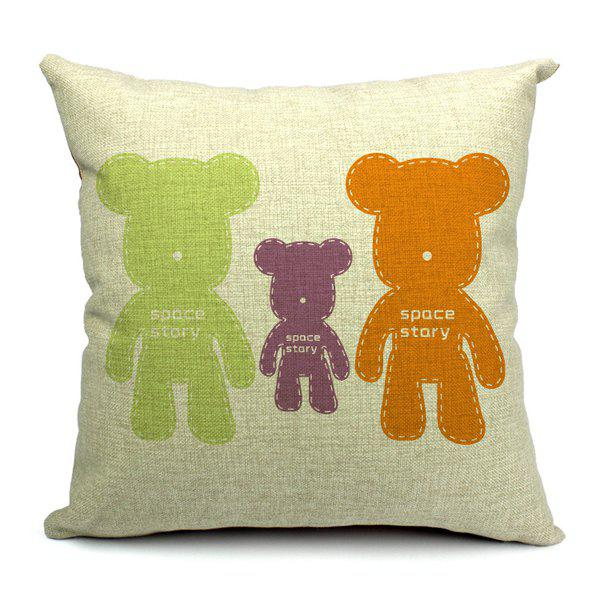 Fresh Sweet Bear Pattern Pillow Case (Without Pillow Inner) - COLORMIX