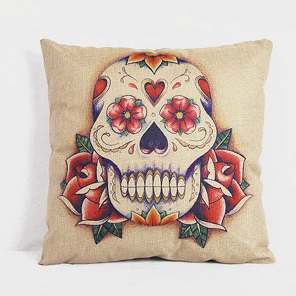 Simple Skull Pattern Linen Decorative Pillowcase (Without Pillow Inner)