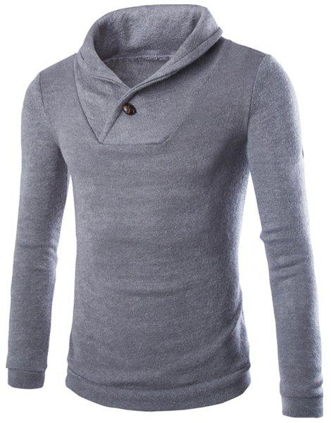 Inclined Turn-down Collar One Button Embellished Solid Color Long Sleeves Men's Vogue Sweater - GRAY XL