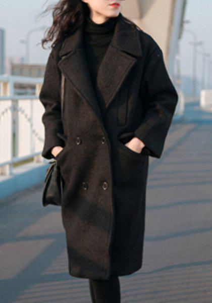 Chic Turn-Down Neck Long Sleeves Pocket Design Pure Color Women's Coat - BLACK M