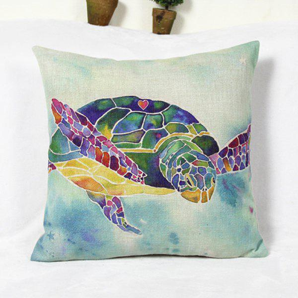 Fresh Sea Turtle Pattern Cotton and Linen Pillowcase (Without Pillow Inner) - AS THE PICTURE