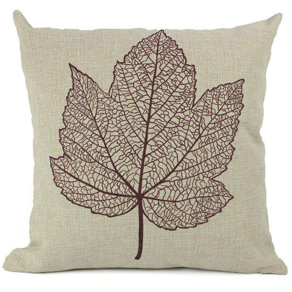 Trendy Leaf Pattern Printed Composite Linen Cotton Blend Pillow Case(Without Pillow Inner)