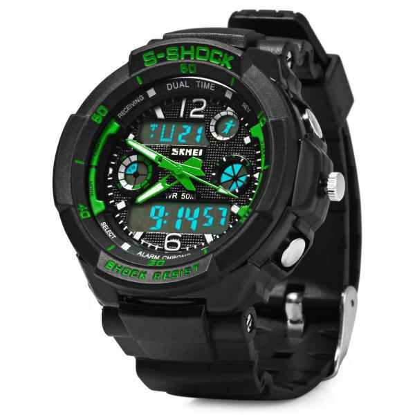 Skmei 1060  Green LED Military Watch with 2 Time Zone Chronograph Double Movts and Round Dial