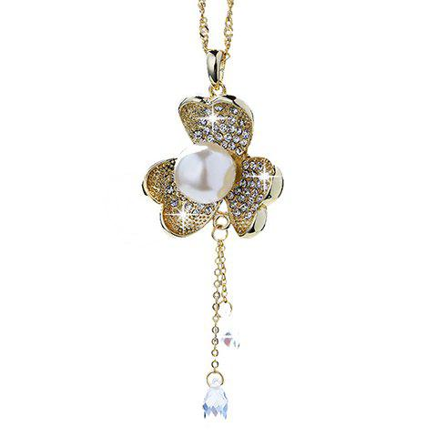 Chic Rhinestone Faux Pearl Clover Necklace For Women - GOLDEN