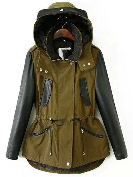 Chic Hooded Long Sleeve Pocket Design Hit Color Women's Jacket - ARMY GREEN M