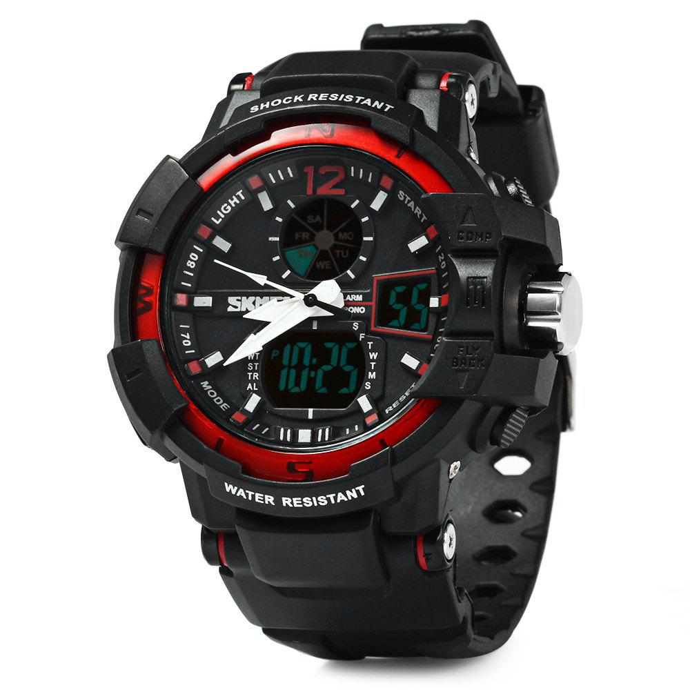 Skmei 1040 Dual Movement 5ATM Water Resistant LED Watch with Week Date Stopwatch - RED