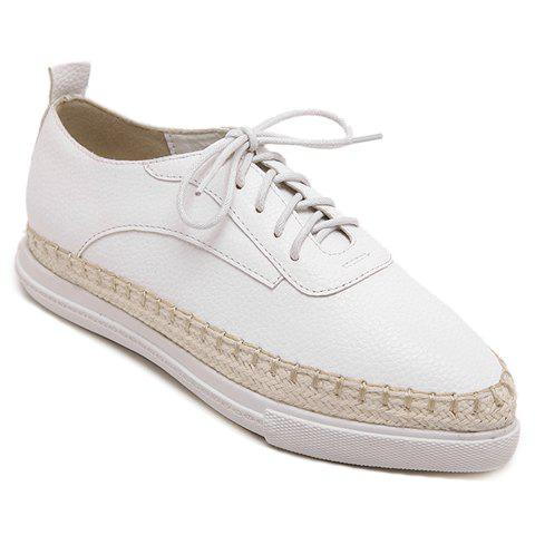 Preppy Style Weaving and Pointed Toe Design Women's Platform Shoes - WHITE 37