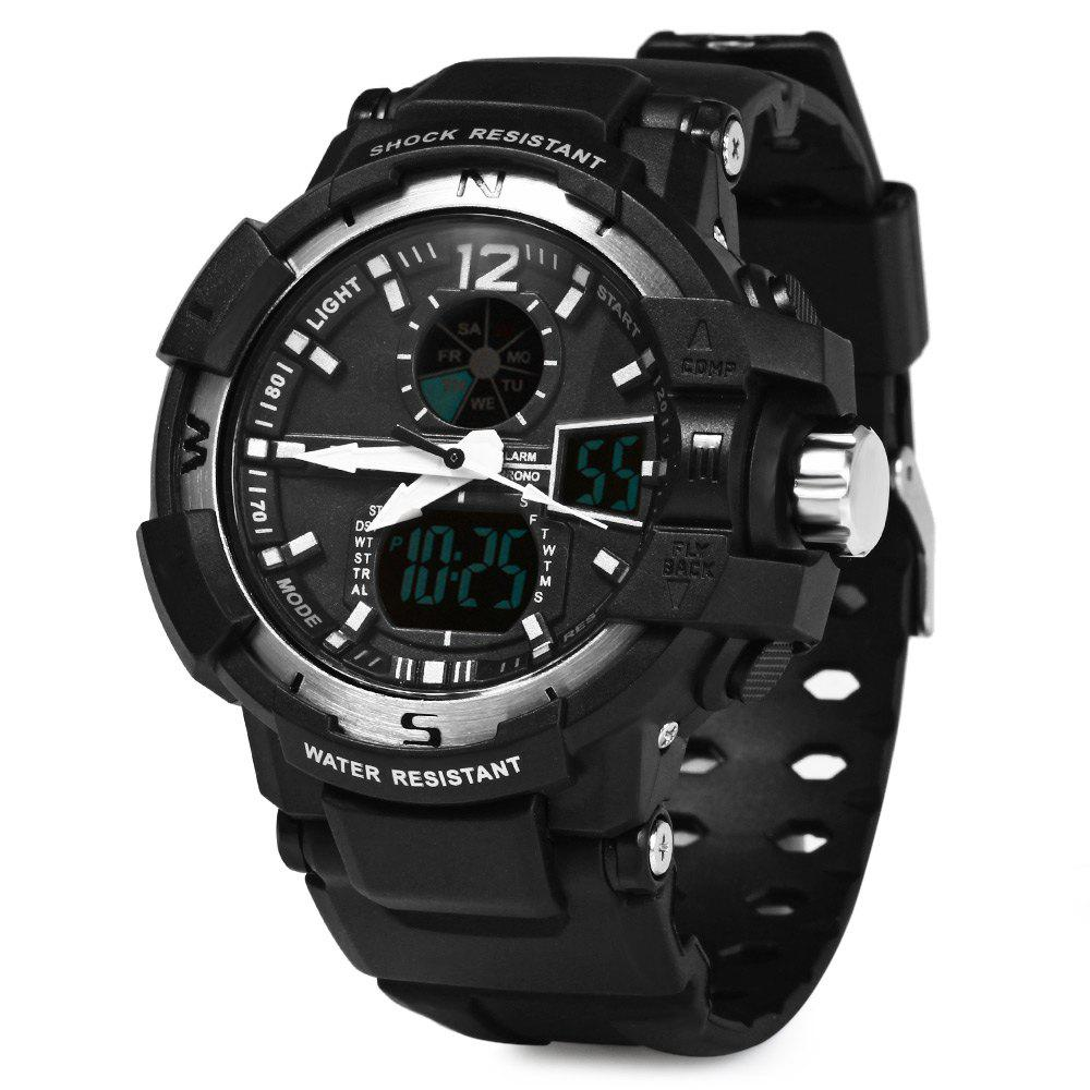 Skmei 1040 Dual Movement 5ATM Water Resistant LED Watch with Week Date Stopwatch - GRAY