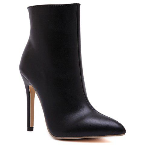 Simple Style Black and Zipper Design High Heel Boots For Women - BLACK 38