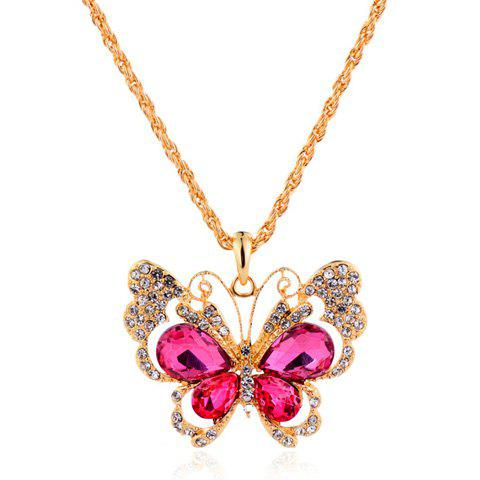 Stylish Rhinestoned Butterfly Sweater Chain For Women - ROSE
