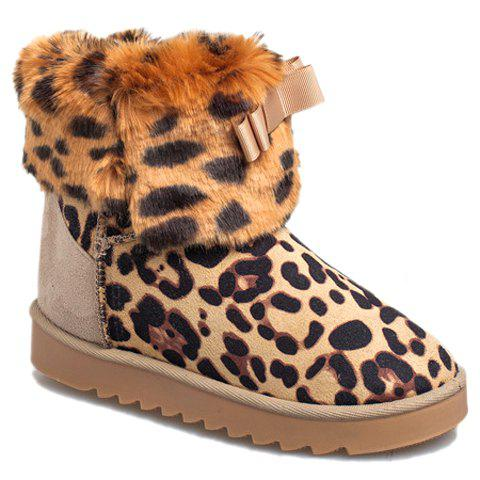 Stylish Leopard Print and Bowknot Design Snow Boots For Women