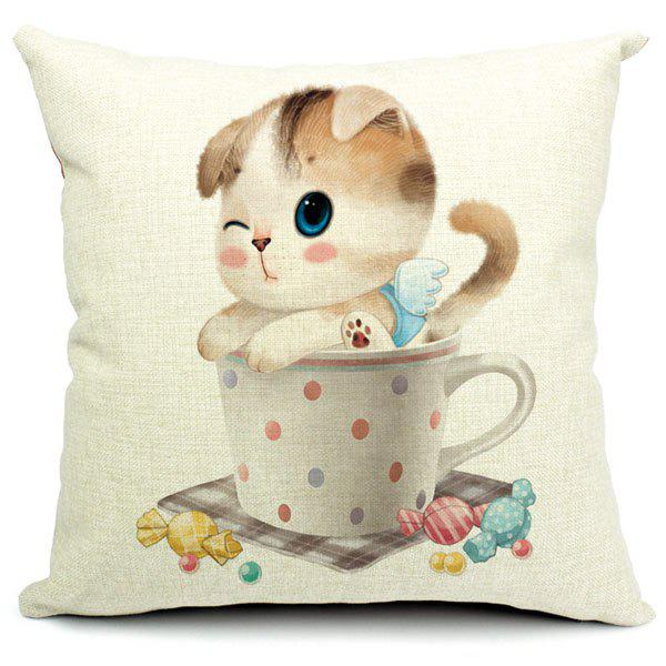 Lovely Colorful Kitten Pattern Printed Square Composite Linen Cotton Blend Pillow Case(Without Pillow Inner) - RANDOM COLOR PATTERN