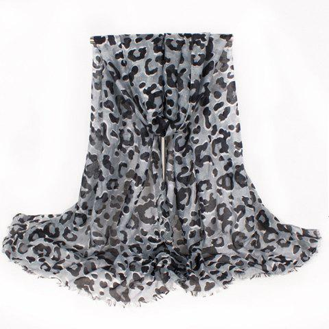 Chic Leopard Pattern Fringed Edge Women's Voile Scarf - BLACK