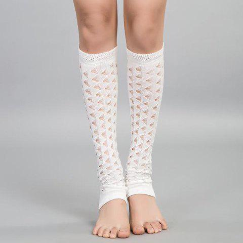 Pair of Chic Hollow Out Foot Step Women's Knitted Leg Warmers - WHITE