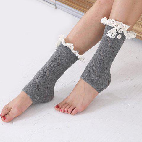 Pair of Chic Lace and Button Embellished Foot Step Women's Knitted Leg Warmers - GRAY