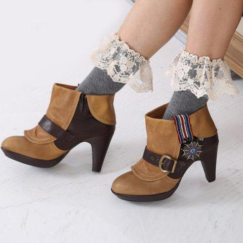 Pair of Chic Lace Brim Hollow Out Herringbone Women's Foot Step Boot Cuffs - GRAY