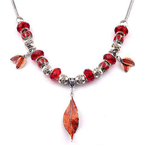 Graceful Faux Ruby Bead Leaf Necklace For Women - RED