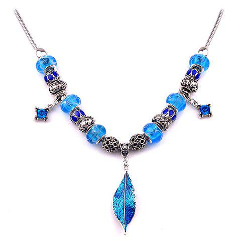 Noble Rhinestone Bead Leaf Necklace For Women