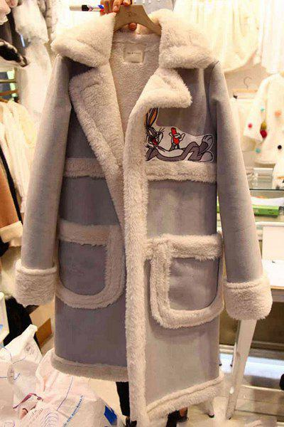 Stylish Turn-Collar Long Sleeve Cartoon Print Spliced Women's Coat - GRAY 3XL