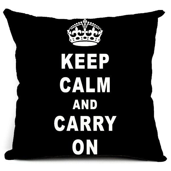 Fashionable Letter and Crown Pattern Pillow Case (Without Pillow Inner) - WHITE/BLACK