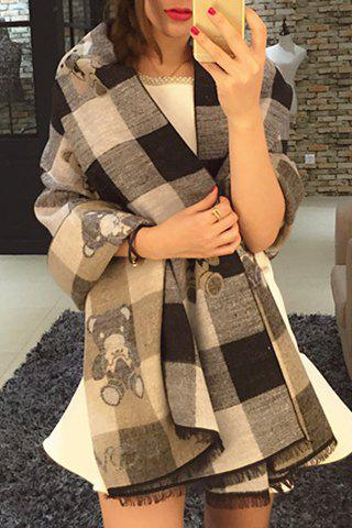 Chic Toy Bear and Plaid Pattern Fringed Edge Warmth Pashmina For Women - GRAY
