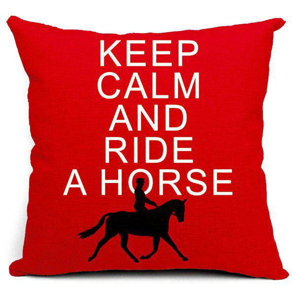 Fashionable Letter and Horse Pattern Pillow Case (Without Pillow Inner) - RED